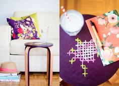DIY Idea: Make A Unique Stool With An Embroidered Cross-Stitch Detail