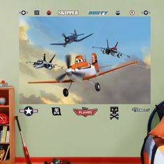 Jolly Wrenches Mural - Disney Planes movie fat head - wall decal. Boys room that is awesome!!