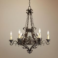 "Franklin Iron Works -   Dark Bronze 28"" Wide 6-Light Iron Chandelier -"