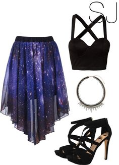 Tumblr Teen Fashion Outfits, Mode Outfits, Stylish Outfits, Dress Outfits, Girl Fashion, Girl Outfits, Pretty Outfits, Pretty Dresses, Galaxy Outfit