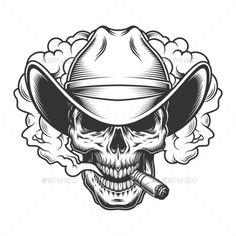 Buy Skull in Smoke Cloud by imogi on GraphicRiver. Skull in smoke cloud and cowboy hat. Evil Skull Tattoo, Skull Tattoo Design, Skull Tattoos, Tattoo Designs, Skull Design, Art Tattoos, Cowboy Tattoos, Western Tattoos, Art Drawings Sketches