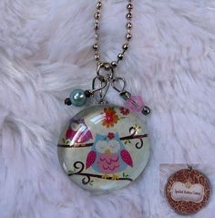 Pink Owls Double Sided Glass/ Resin Pendant Glass