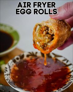 Chicken Egg Rolls, Pork Egg Rolls, Air Fryer Dinner Recipes, Air Fryer Recipes Easy, Air Frying, Deep Frying, Air Fryer Cooking Times, Egg Roll Filling, Homemade Egg Rolls