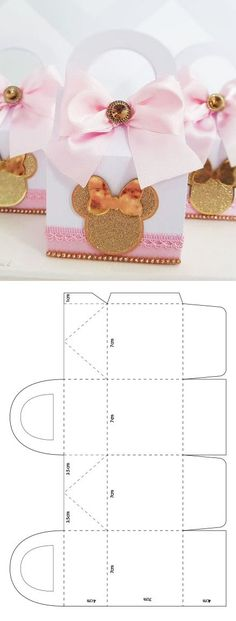 Minnie mouse box template - Food Tutorial and Ideas Diy Gift Box, Paper Gift Box, Diy Box, Diy Gifts, Handmade Gifts, Deco Baby Shower, Paper Box Template, Creative Box, Diy Crafts Hacks