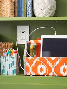 Decorative containers make is easy to disguise office supplies while adding style! More from the BHG Innovation Kitchen: http://www.bhg.com/kitchen/remodeling/planning/bhg-innovation-kitchen/