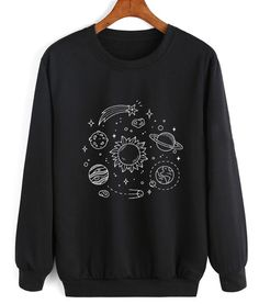 Cosmos Solar System Sweater Funny Sweatshirt Clothfusion Sweatshirt, High Quality Print,With online Funny Outfits, Cool Outfits, Fashion Outfits, Funny Sweatshirts, Hoodies, Sweatshirt Outfit, Sweater Hoodie, Kawaii Clothes, Direct To Garment Printer