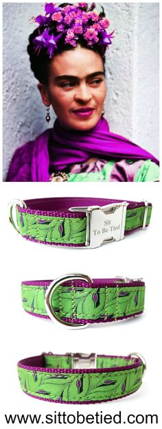 Bright dog collar in purple and green. Frida Kahlo  inspiration.