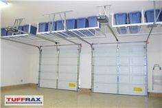 Another example of hanging storage over the garage doors! garage overhead storage solutions - Google Search