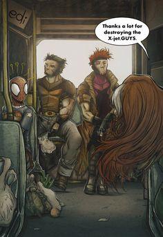 X-men Gambit Wolverine Rogue Spider-man.... this cracks me up!