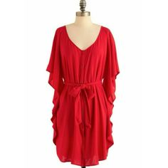 """Red Boho Style Waterfall Sleeve Shirt Dress Only worn once! Jack by BB Dakota at Modcloth, the """"you and me forever"""" dress. Soft and flowy. Super cute with a pair of boots. Dress it up or down. Hits about knee length to right above the knee. Material does not stretch, but this does run big and could easily fit a medium or large. Meant to be an oversized fit. NO TRADES BB Dakota Dresses"""
