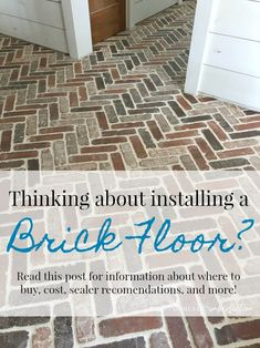 Herringbone Brick Paver Floor Thinking about putting a brick floor in your home? Read this post for information about where to buy brick tiles, cost, sealer, and more! Brick Tile Floor, Brick Floor Kitchen, Brick Pavers, Brick Flooring, Basement Flooring, Diy Flooring, Kitchen Flooring, Flooring Ideas, Brick Look Tile