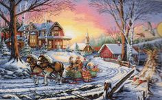 Dimensions Gold Counted Cross Stitch Kit ~ PLEASURES OF WINTER