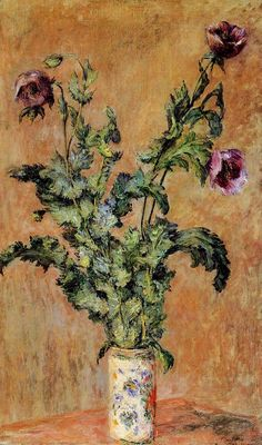 Claude Monet Vase Of Poppies Oil Painting Reproductions for sale Claude Monet, Monet Paintings, Impressionist Paintings, Art Floral, Artist Monet, Beaux Arts Paris, Purple Poppies, Art Japonais, Camille Pissarro