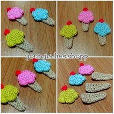 youngladieshome: Crochet Ice cream Appliques Crochet Bows Free Pattern, Crochet Motif, Crochet Designs, Crochet Doilies, Free Crochet, Crochet Hair Clips, Crochet Mask, Crochet Hair Styles, Crochet Food