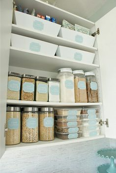 Give your pantry a makeover! Lots of dollar stores sell great jars and bins to store your foods in. All you need to do is print your own labels!