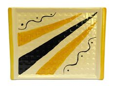 French Art Deco Ceramic Cheese Platter with Black and Yellow