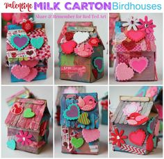 Valentine Milk Carton Birdhouses - Birdhouse Idas for Kids made from Milk Cartons, these are an adorable valentines day activity for kids