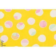 Popeline Sweet Bubbles Sugar point jaune vif été art gallery graphic