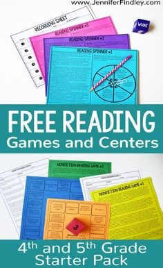 Reading games and centers are a great way to spice up your reading instruction and have your students practice important reading skills. Grab a free reading centers starter pack on this post! Free Reading Games, Reading Comprehension Games, Reading Response, Reading Strategies, Reading Skills, Teaching Reading, Reading Resources, Guided Reading, Reading Intervention Classroom