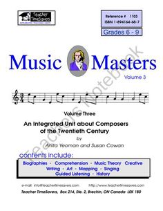 Music History:  Music Masters 3  from Teacher Timesavers on TeachersNotebook.com (118 pages)
