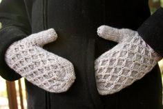 (6) Name: 'Knitting : Diamond Lattice Mittens