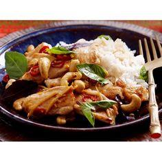 Basil and cashew chicken stir-fry recipe. #Asian #Chicken #Main #StirFry