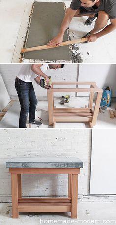 Tutoría isla para la cocina: mesa de madera con sobre de hormigón - Diy wood kitchen island with a concrete top. Great tutorial!