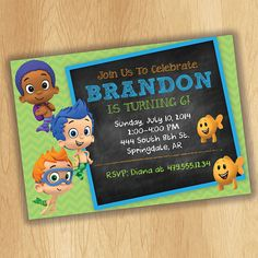 Bubble Guppies Invitation - Bubble Guppies Birthday - Pink or Green Chalkboard - Nickelodeon Birthday - Party Ideas Printable
