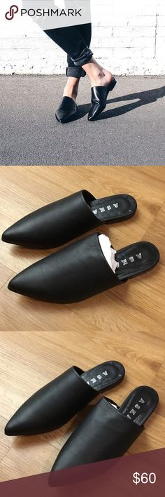 New ASKA lee mule black Slip On Shoes 38 New ASKA shoes made in Italy retail $225 aska Shoes