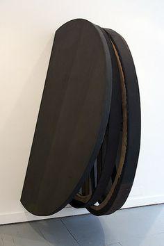 Simon Callery | Burnt Umber Painting Oolite | 2012 | Oil, distemper, canvas, wood, aluminium | 206 x 90 x 122.5 cm
