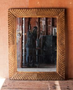 Large Ornately Carved Gilded Wood Mirror