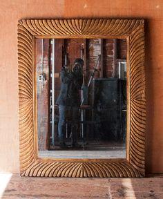 Large Ornately Carved Gilded Wood Mirror