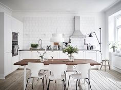 white wooden dining room