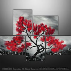 Japanese fans painting red on black | ... Modern Landscape Asian Tree Art by Gabriela 44x32 black white red