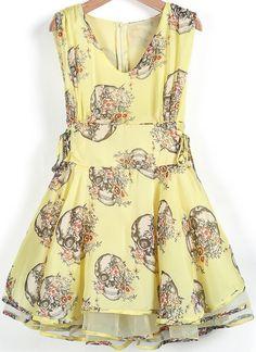 Yellow Sleeveless Skull Print Flare Dress pictures