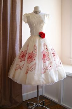 1950's Silk Organza Garden Party Dress