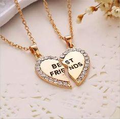 colar cordão amizade best friends i love you amor coração