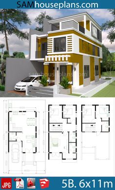 House Plans with 5 Bedrooms Plot - Sam House Plans Modern House Floor Plans, 3d House Plans, Model House Plan, Duplex House Plans, House Blueprints, Dream House Plans, Small House Plans, House Arch Design, 3 Storey House Design