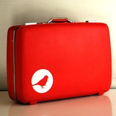Vintage Upcycled Red Suitcase - Hard sided  American Tourister Tiara - Carry on Luggage