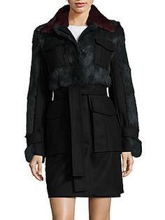 Sonia by Sonia Rykiel Rabbit Fur Panel Coat