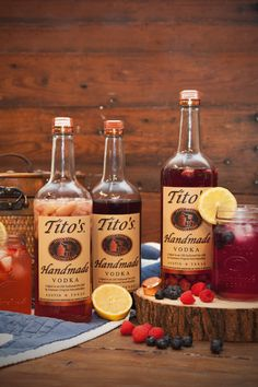Tito's Handmade Vodka easy summer berry and strawberry rhubarb infusion recipes!