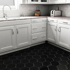 Merola Tile Hexatile Matte Nero 7 in. x 8 in. Porcelain Floor and Wall Tile (2.2 sq. ft. / pack)-FEQ8HMN - The Home Depot