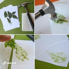 Vytvořte si krásné razítko z listu jednoduchým zplsobem pomocí kladívka  a ubrousku