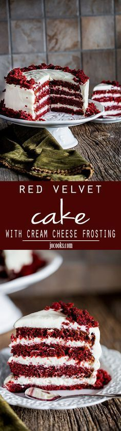 Red Velvet Cake with Cream Cheese Frosting - this super moist and tender red velvet cake makes for a divine and dramatic cake topped with an easy cream cheese frosting.