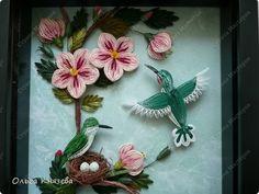 Картина, рисунок, панно Квиллинг: Мои колибри + ссылка на МК Бумажные полосы. Фото 1