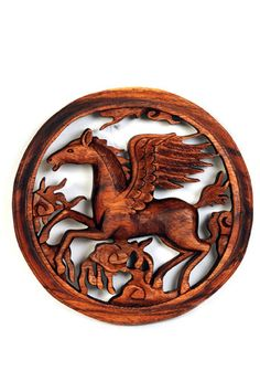 Beautiful Hand Carved Flying Horse Wooden Panel from Bali