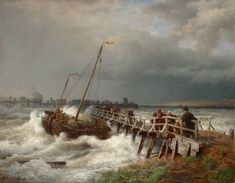 Andreas Achenbach - Havarie am alten Pier - Category:Paintings of ships in distress - Wikimedia Commons