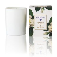 """Green Blu - """"BLUE SCENTS"""" Gardenia Scented Candle 135gr Scented Candles, Place Card Holders, Mugs, Green, Blue, Tumbler, Mug, Cups"""