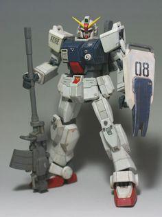 HGUC land battle type Gundam Gundam Papercraft, Ground Type, Gundam Model, Mobile Suit, Transformers, Battle, Hguc, Cool Stuff, Robots
