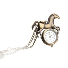 Antique Horse Necklace Pendant Quartz Pocket Watch
